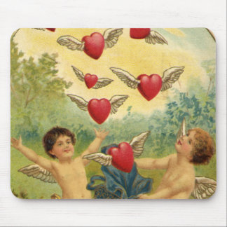 Vintage Valentine's Day, Victorian Angels Hearts Mousepads