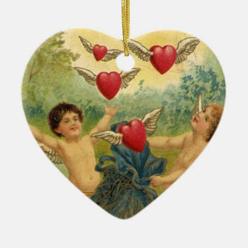 Vintage Valentine's Day, Victorian Angels Hearts Ornament