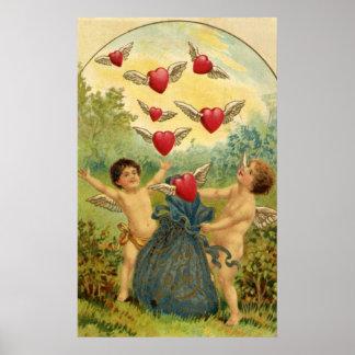 Vintage Valentine's Day, Victorian Angels Hearts Poster