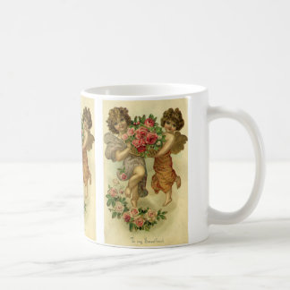 Vintage Valentine's Day Victorian Angels Roses Classic White Coffee Mug