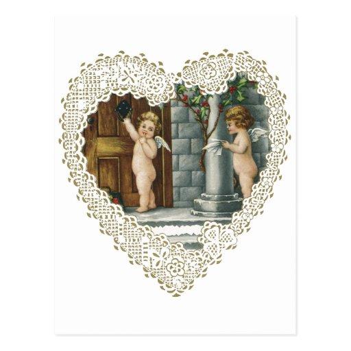Vintage Valentine's Day, Victorian Angels w Letter Postcard