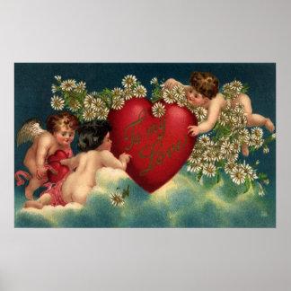Vintage Valentines Day Victorian Cherubs on Clouds Poster