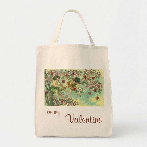 Vintage Valentines Day Victorian Cupids Heart Tree Canvas Bag