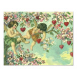Vintage Valentines Day Victorian Cupids Heart Tree Personalized Announcements