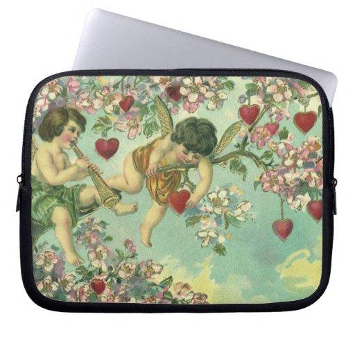 Vintage Valentines Day Victorian Cupids Heart Tree Computer Sleeve