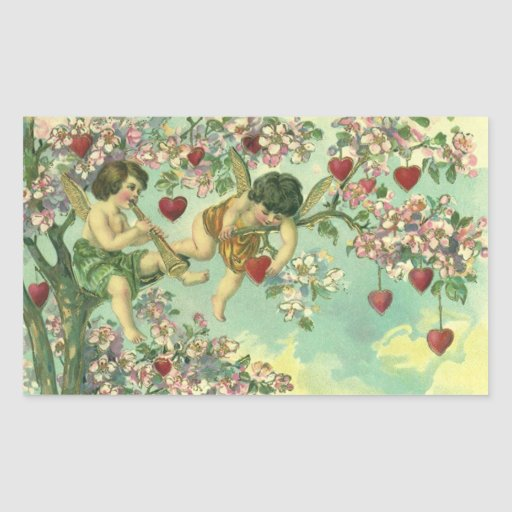 Vintage Valentines Day Victorian Cupids Heart Tree Rectangle Sticker