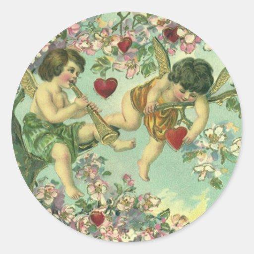 Vintage Valentines Day Victorian Cupids Heart Tree Classic Round Sticker