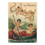 Vintage Valentine's Day, Victorian Cupids in Boat 5x7 Paper Invitation Card