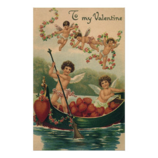 Vintage Valentine's Day, Victorian Cupids in Boat Poster