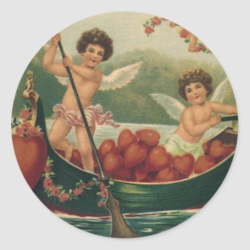 Vintage Valentine's Day, Victorian Cupids in Boat Classic Round Sticker