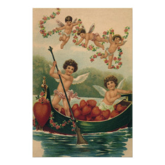 Vintage Valentine's Day, Victorian Cupids in Boat Perfect Poster