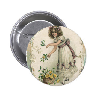 Vintage Valentine's Day, Victorian Girl with Roses 2 Inch Round Button