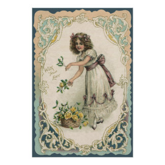 Vintage Valentine's Day, Victorian Girl with Roses Poster