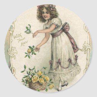 Vintage Valentine's Day, Victorian Girl with Roses Sticker