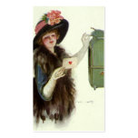 Vintage Valentine's Day Victorian Lady Mail Letter Business Card Templates