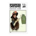 Vintage Valentine's Day Victorian Lady Mail Letter Postage Stamp