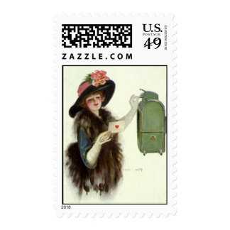 Vintage Valentine's Day Victorian Lady Mail Letter Postage Stamp