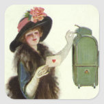 Vintage Valentine's Day Victorian Lady Mail Letter Stickers