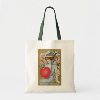 Vintage Valentines Day, Victorian Lady with Heart Tote Bag