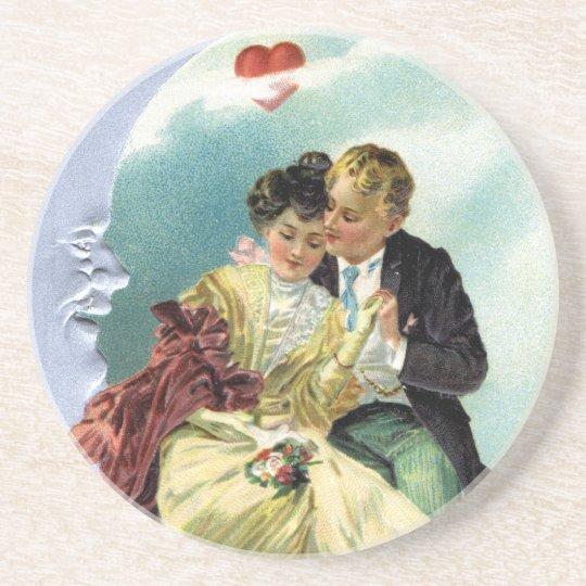 Vintage Valentine's Day Victorian Love and Romance Drink Coaster