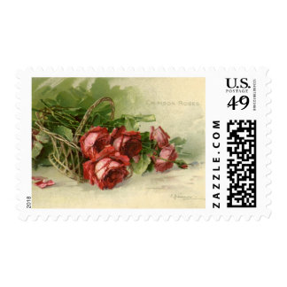 Vintage Valentine's Day, Victorian Red Roses Postage Stamps