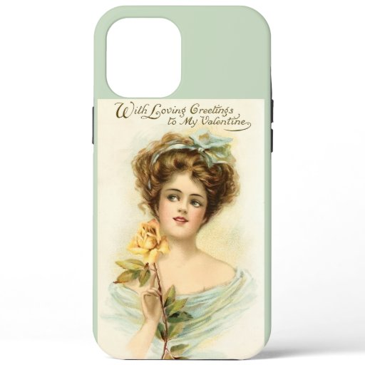 Vintage Valentine's Day Woman With Yellow Rose iPhone 12 Pro Max Case