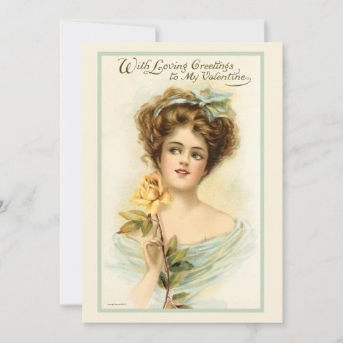 Vintage Valentines Day Woman With Yellow Rose Holiday Card