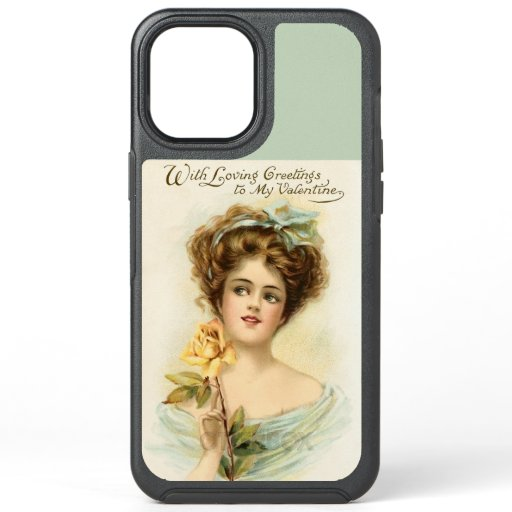 Vintage Valentine's Day Woman With Yellow Rose OtterBox Symmetry iPhone 12 Pro Max Case