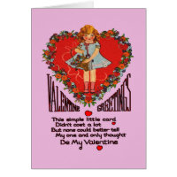Vintage Valentines Heart Wreath and Girl Card