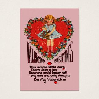 Vintage Valentines Heart Wreath & Girl Kids Cards