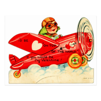 Vintage Valentines Kid's Card Airplane Girl