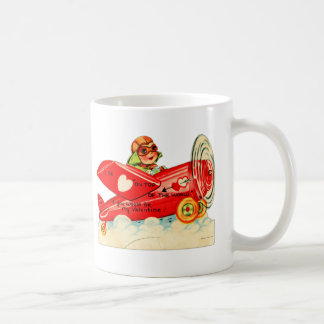 Vintage Valentines Kid's Card Airplane Girl Classic White Coffee Mug