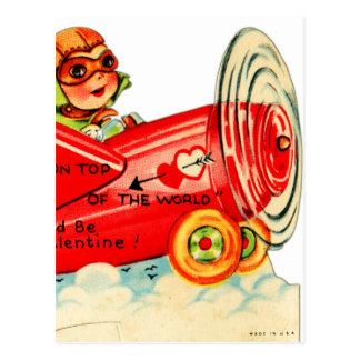Vintage Valentines Kid's Card Airplane Girl Postcard
