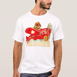 Vintage Valentines Kid's Card Airplane Girl T-Shirt