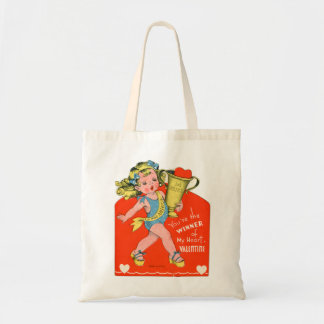 Vintage Valentines Kid's Card Your The Winner Girl Tote Bag