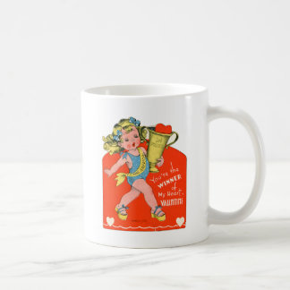 Vintage Valentines Kid's Card Your The Winner Girl Classic White Coffee Mug