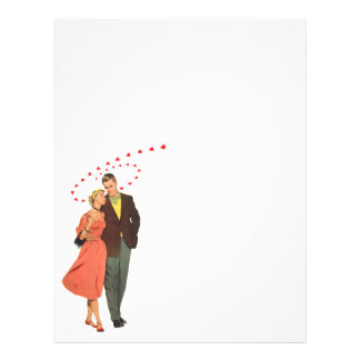 Vintage Valentines Lovers with Floating Hearts Letterhead