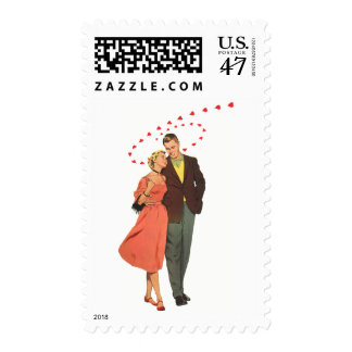 Vintage Valentines Lovers with Floating Hearts Postage