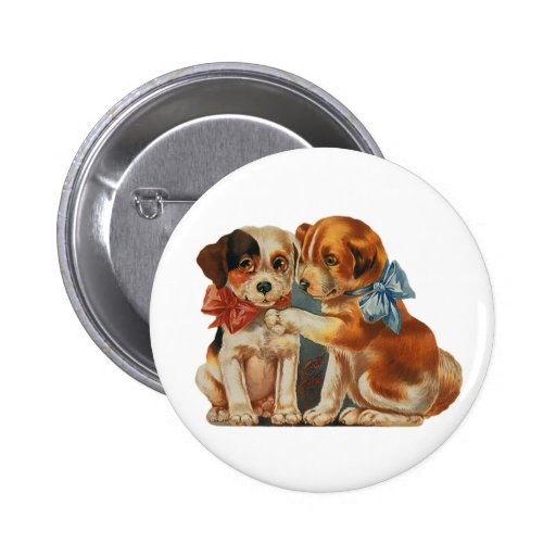 Vintage Valentine's Puppy Dog Love, Two Mutts Bows Buttons