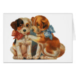 Vintage Valentine's Puppy Dog Love, Two Mutts Bows Stationery Note Card