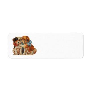 Vintage Valentine's Puppy Dog Love, Two Mutts Bows Custom Return Address Labels