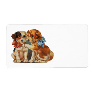 Vintage Valentine's Puppy Dog Love, Two Mutts Bows Shipping Labels