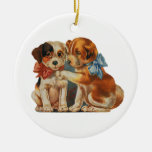Vintage Valentine's Puppy Dog Love, Two Mutts Bows Double-Sided Ceramic Round Christmas Ornament
