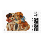 Vintage Valentine's Puppy Dog Love, Two Mutts Bows Postage Stamps