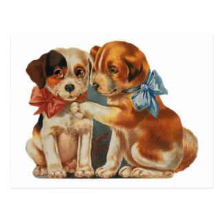 Vintage Valentine's Puppy Dog Love, Two Mutts Bows Post Card