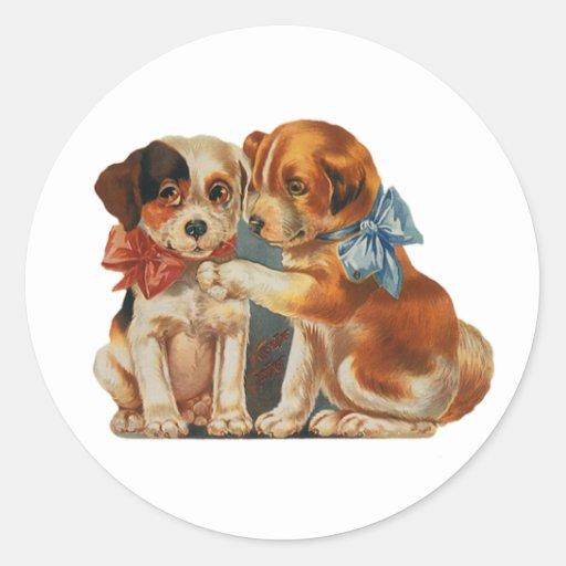 Vintage Valentine's Puppy Dog Love, Two Mutts Bows Classic Round Sticker