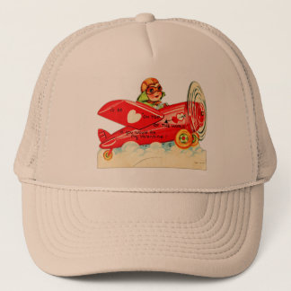 Vintage Valentines s Card Airplane Girl Trucker Hat