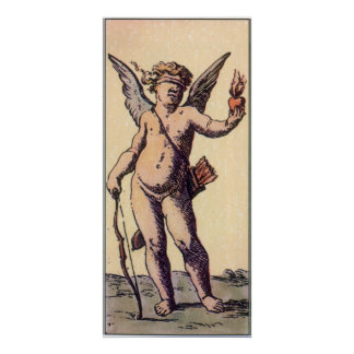 Vintage Valentines Tarot Card, Blindfolded Cupid Poster