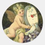 Vintage Valentines,  Victorian Cherub w Love Birds Round Sticker