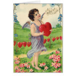 Vintage Valentines Victorian Cupid Holding a Heart Greeting Cards